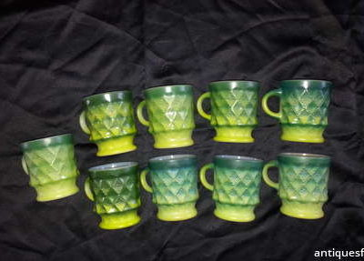 Green Anchor Hocking Mugs
