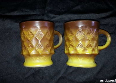 Brown & beige Anchor Hocking Mugs