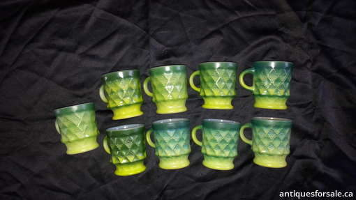 Green Anchor Hocking Mugs